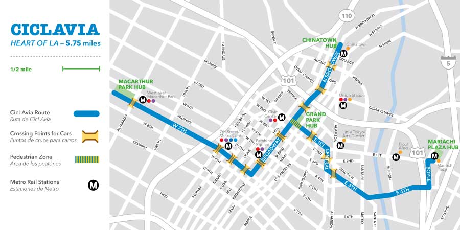 Ciclavia Heart of LA ride map